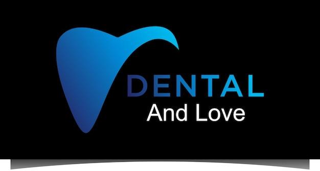 Logotipo da dental com vetor de desenho de heart love abstrato