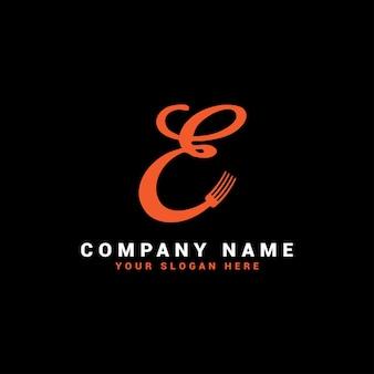 Logotipo da e food letter com o símbolo do garfo
