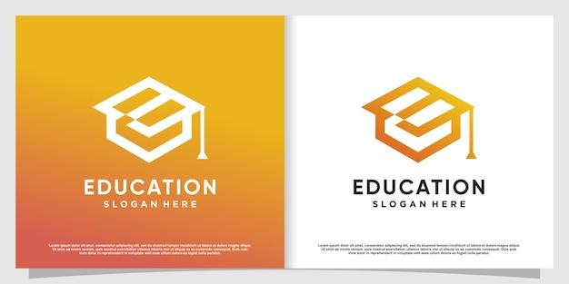 Logotipo da educação com conceito abstrato moderno premium vector