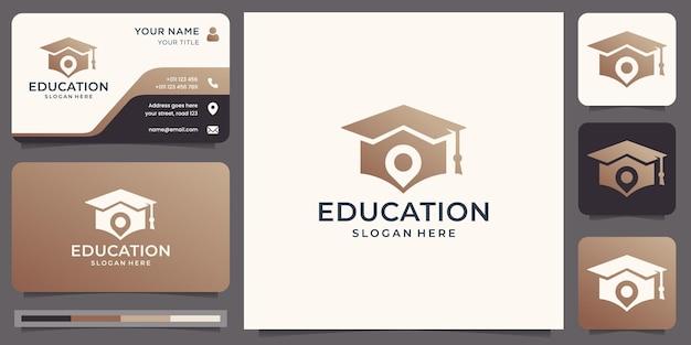 Logotipo da educação com design de marcador de pino de localização. criativo combinado toga e broche, graduação, logotipo do boné