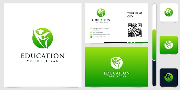 Logotipo da educação com vetor premium de design de cartão de visita