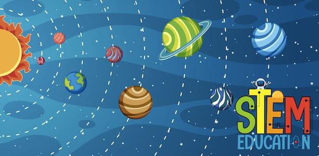 Logotipo da educação da haste e planetas do sistema solar no fundo
