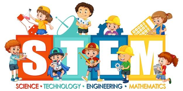 Logotipo da educação stem com o personagem de desenho animado de muitas crianças