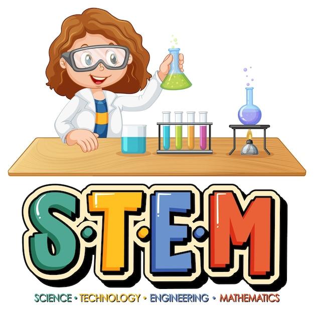 Logotipo da educação stem com personagem de desenho animado de cientista