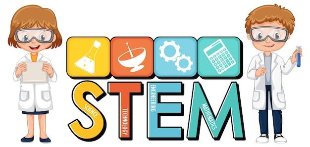 Logotipo da educação stem com personagem de desenho animado de crianças cientistas