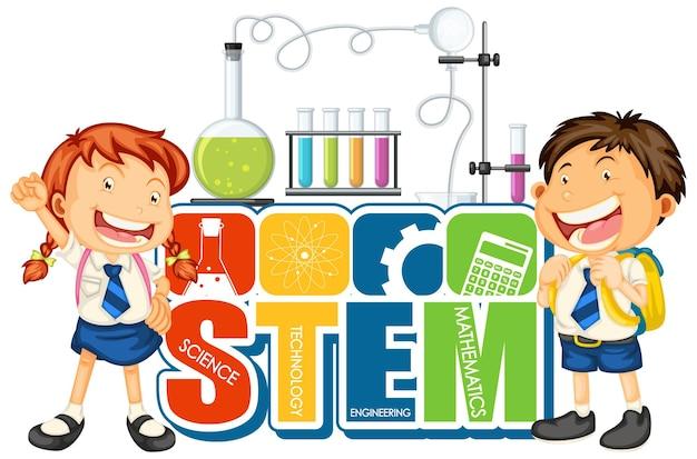 Logotipo da educação stem com personagem de desenho animado de crianças de alunos