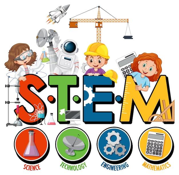Logotipo da educação stem com personagem de desenho animado infantil