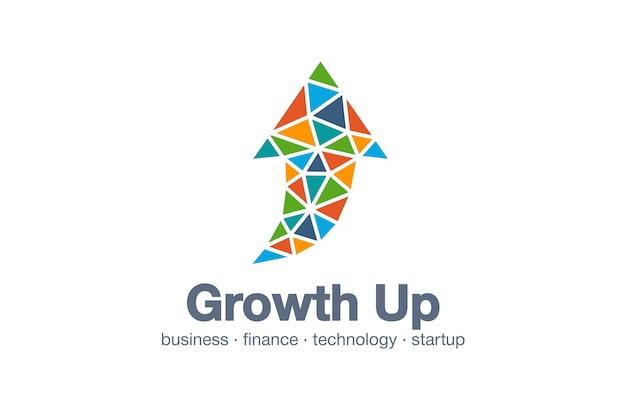 Logotipo da empresa abstrata de negócios. elemento de identidade corporativa. tecnologia, mercado, idéia de logotipo do banco. seta conectada para cima, crescimento, progresso integrar e conceito de sucesso. ícone de interação