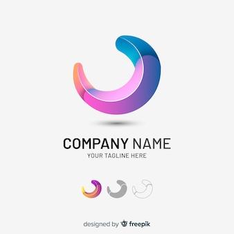 Logotipo da empresa abstrata tridimensional gradiente