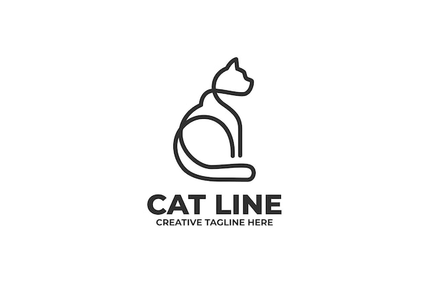 Logotipo da empresa cat one line drawing
