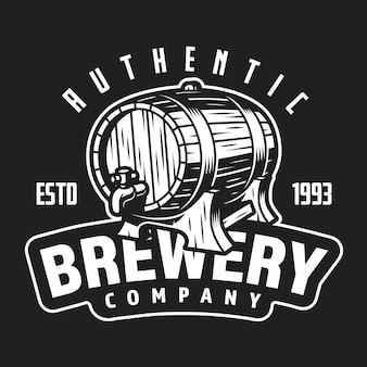 Logotipo da empresa cervejaria branco vintage