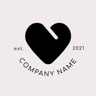 Logotipo da empresa com formato de coração preto