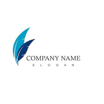 Logotipo da empresa comercial com o símbolo de penas