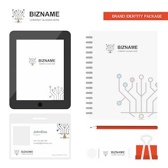 Logotipo da empresa de circuitos, guia app, cartão diário de funcionário em pvc e modelo de pacote estacionário da marca usb