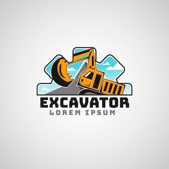 Logotipo da empresa de construção de escavadeiras