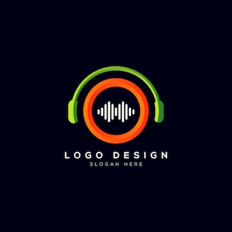 Logotipo da empresa de música com fone de ouvido