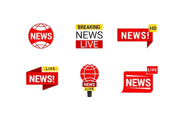 Logotipo da empresa de negócios de notícias vermelho e amarelo