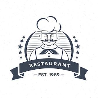 Logotipo da empresa de negócios de restaurante chef retrô