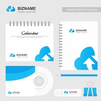 Logotipo da empresa de nuvem e design estacionário