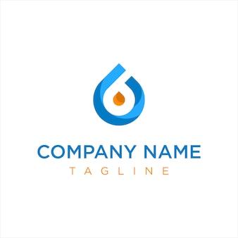 Logotipo da empresa de óleo de gás azul e laranja