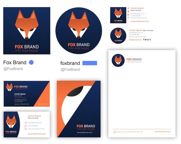 Logotipo da empresa fox incluindo papelaria