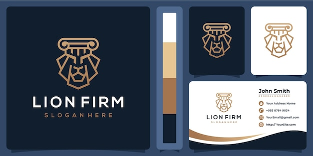 Logotipo da empresa leão de luxo com modelo de cartão de visita