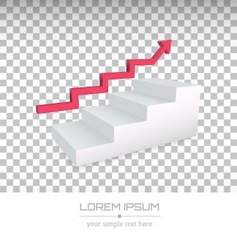 Logotipo da empresa mínima criativa, seta sobre escadas