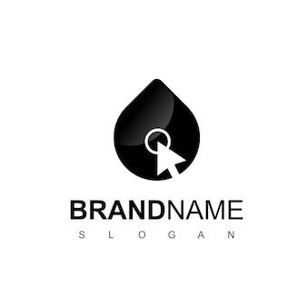 Logotipo da empresa petrolífera moderna com o símbolo do ponteiro