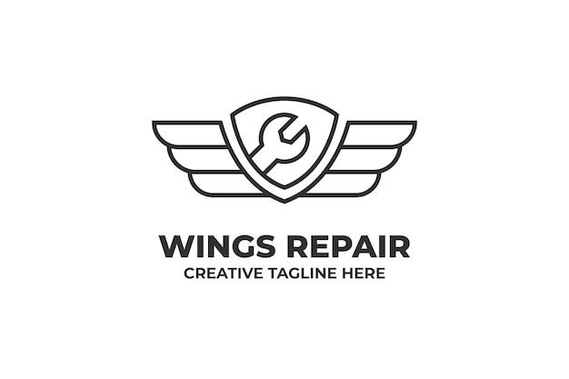 Logotipo da engenharia automotiva de reparo de asas
