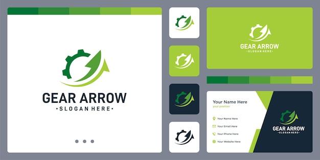 Logotipo da engrenagem e forma de seta. design de cartão de visita.