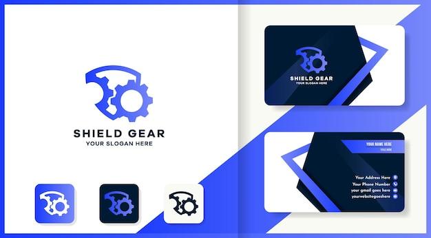 Logotipo da engrenagem escudo e design de cartão de visita
