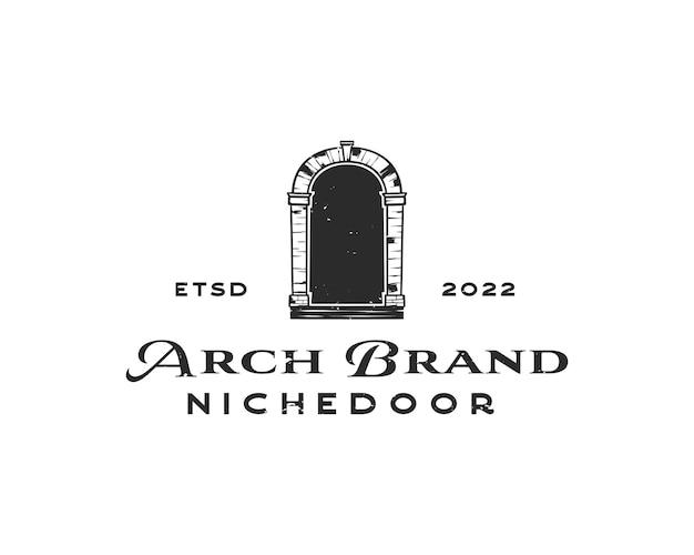 Logotipo da entrada do arco antigo arquitetônico. design de logotipo de vetor de arco de pedra. ilustração de arco vintage