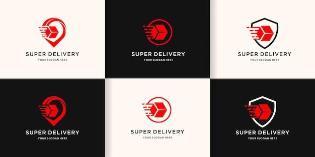 Logotipo da entrega, caixa em alfinete, círculo e escudo