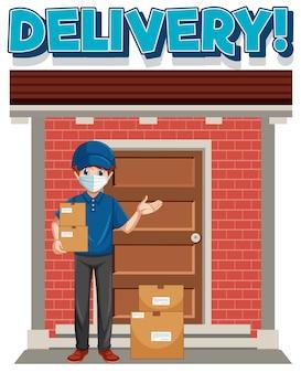 Logotipo da entrega com entregador ou mensageiro em personagem de desenho animado de uniforme azul