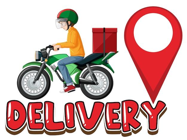 Logotipo da entrega com homem da bicicleta ou mensageiro