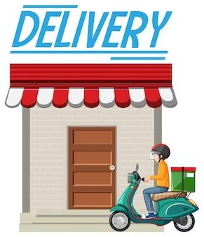 Logotipo da entrega com o homem da bicicleta ou correio