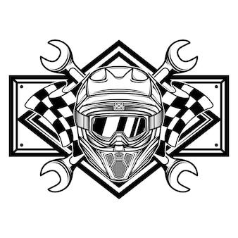 Logotipo da equipe de corrida preto e branco