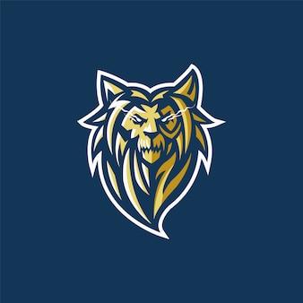 Logotipo da equipe de esportes-e com cabeça de leão