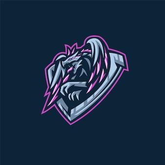 Logotipo da equipe de esportes-e com dragão
