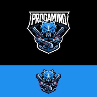 Logotipo da equipe de esportes-e com revólver de lobo