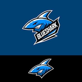 Logotipo da equipe de esportes-e com tubarão