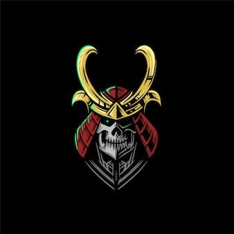 Logotipo da equipe de esportes eletrônicos com cabeça de samurai
