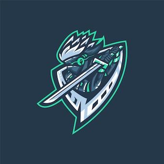 Logotipo da equipe de esportes eletrônicos com samurai