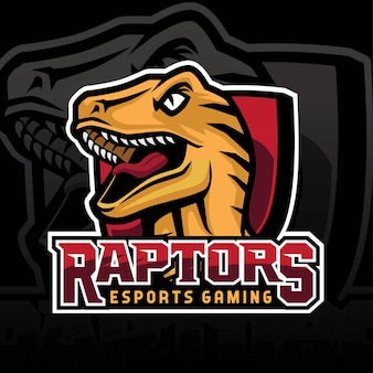 Logotipo da equipe de jogos raptor e sport