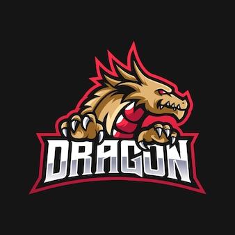 Logotipo da equipe e-sport com dragão dourado