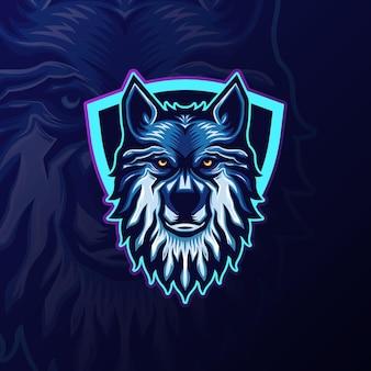 Logotipo da equipe esports wolf mascote