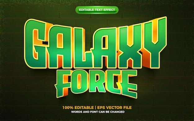 Logotipo da equipe galaxy force verde esport efeito de texto editável em 3d