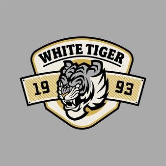 Logotipo da equipe universitária de design de emblema de tigre branco