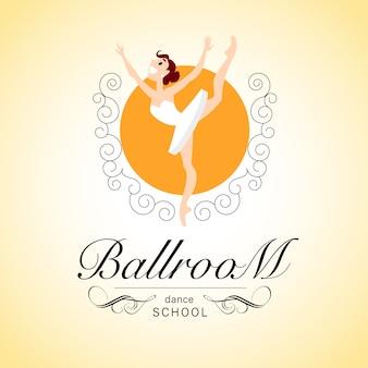 Logotipo da escola de dança de salão com personagem de bailarina. ilustração.