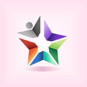 Logotipo da escola estrela com conceito de pessoas